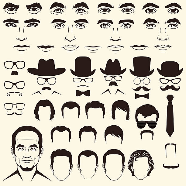 vector men  head character - old man hair stock illustrations, clip art, cartoons, & icons
