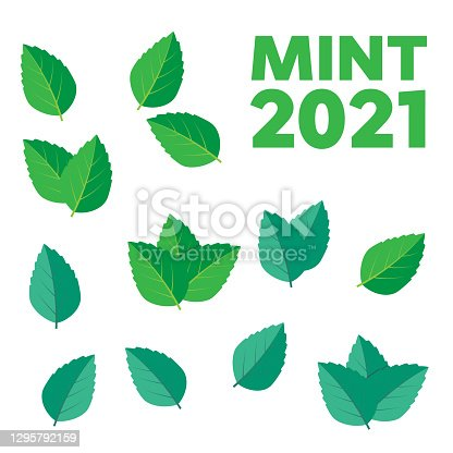 istock Vector menthol healthy aroma. Mint leaves vector logo 1295792159