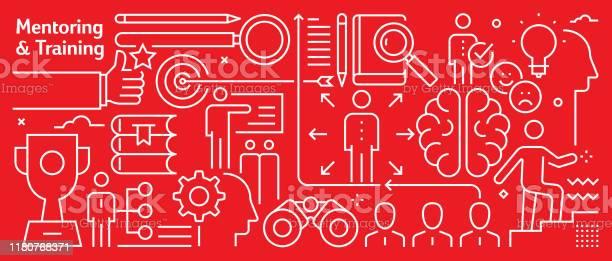Vector Business Management Banner Design In Trendy Linear