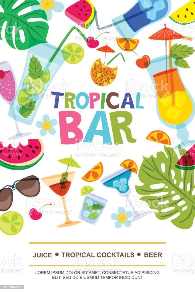 Vector menu design template for beach bar. Sun, palm leaves, watermelon and cocktails doodle illustration. vector art illustration