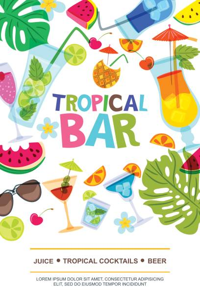 Vector menu design template for beach bar. Sun, palm leaves, watermelon and cocktails doodle illustration. vector art illustration