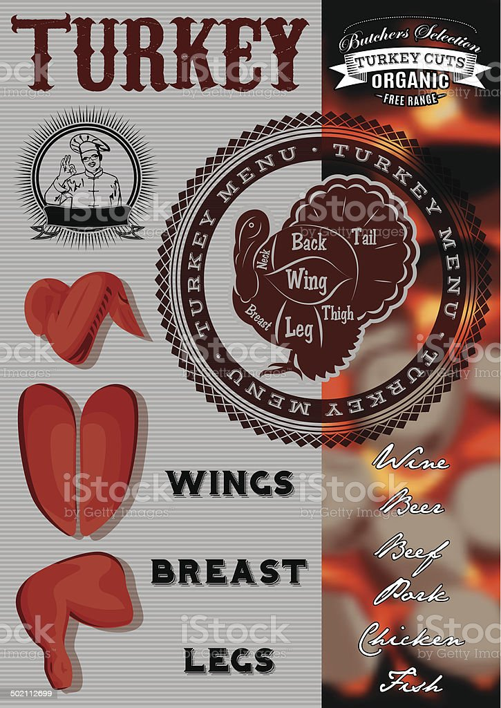 vector menu  for grilling with turkey vector art illustration