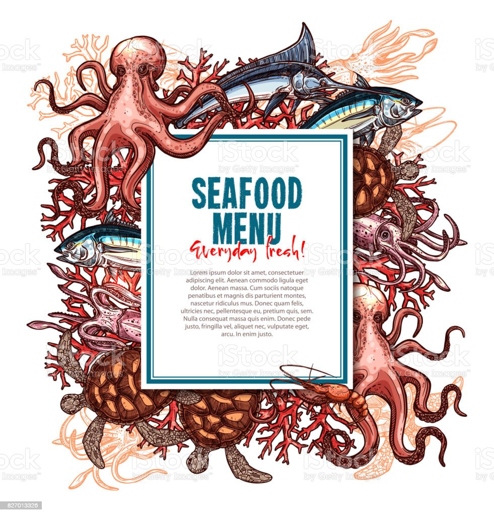 Vector menu for seafood or fish food restaurant vector art illustration