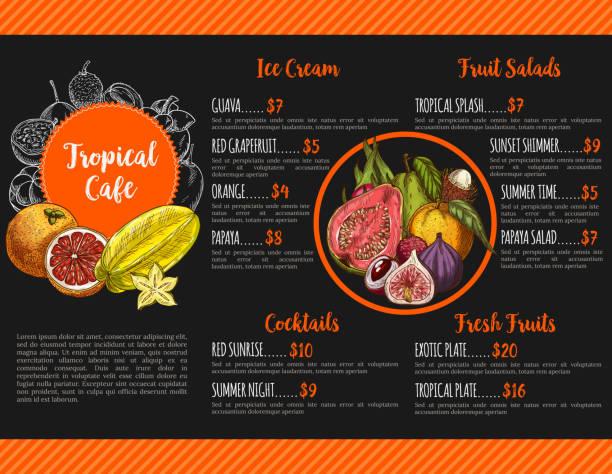 vektor-menü für exotische südfrüchte café - feigensalat stock-grafiken, -clipart, -cartoons und -symbole