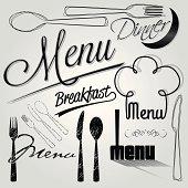 vector menu headlines, hand lettering set