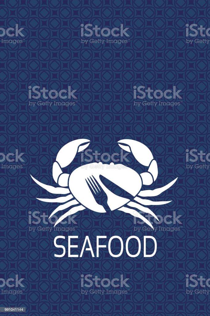 Crabe Avec Un Couteau vecteur étiquette du menu avec la silhouette du crabe et le symbole