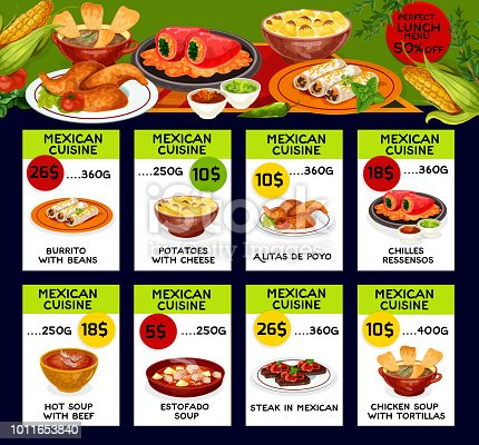 istock Vector menu price cards for Mexican cuisine 1011653840