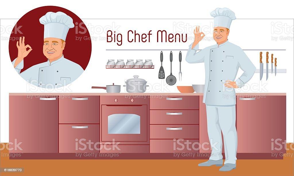 Vector Menu Set. Chef shows gesture delicious, background of kitchen. vector art illustration