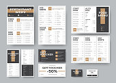 Vector menu templates for cafes and restaurants in white with black blocks. Design with brown elements. A set of corporate style