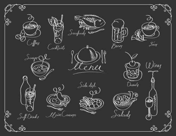 vektor-menü mit verschiedenen gerichten skizzen - fischglas stock-grafiken, -clipart, -cartoons und -symbole