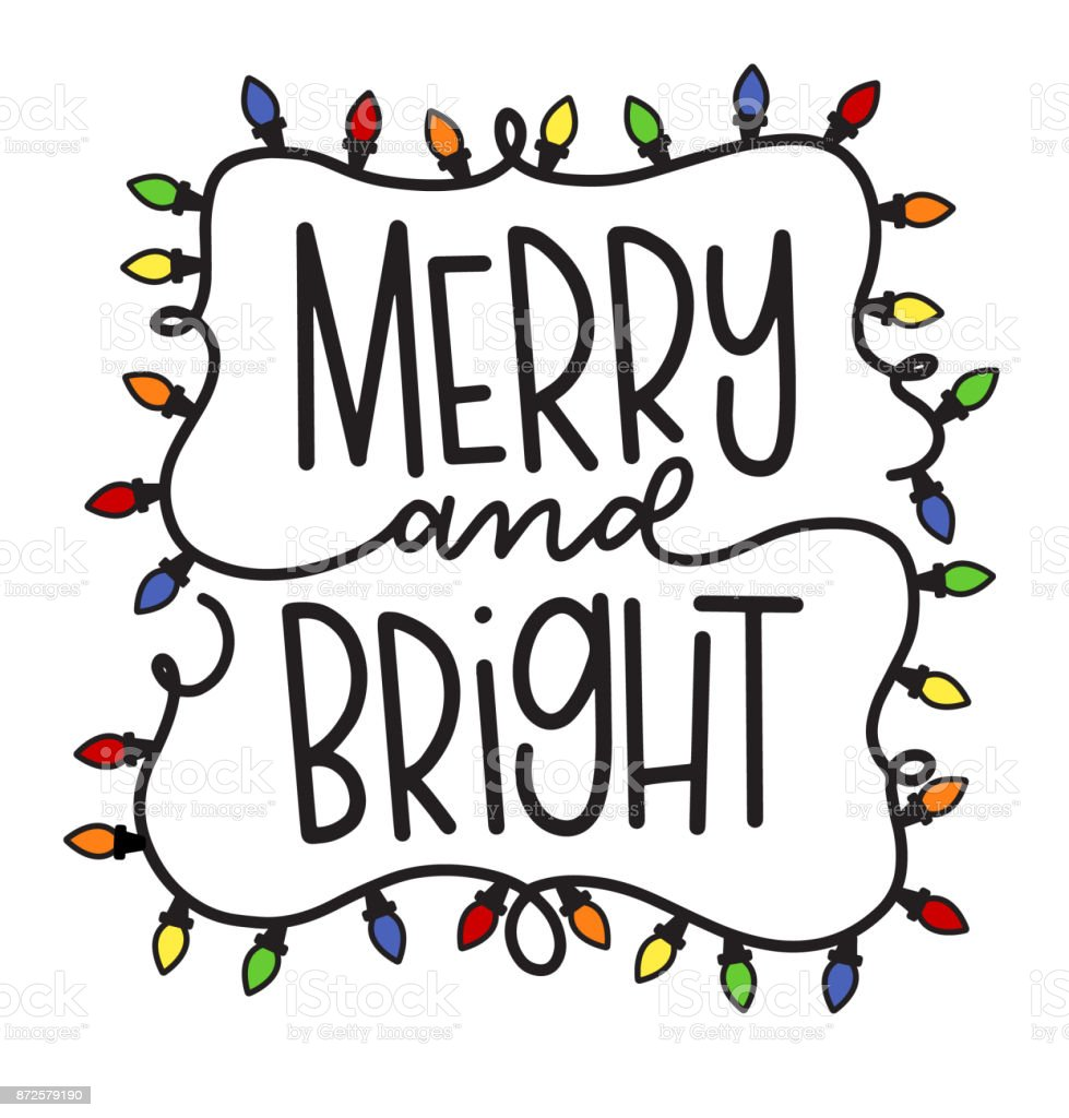 Vector merry and bright holiday greeting vector art illustration
