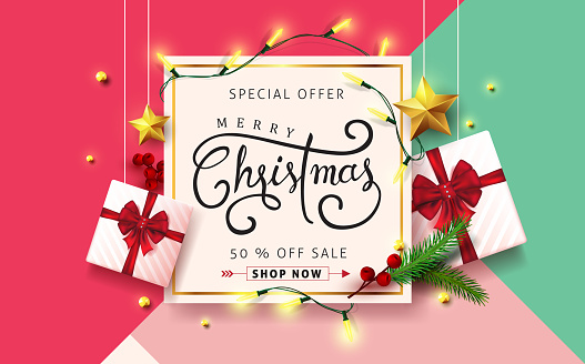 Vector merry Christmas and happy New Year background design .Calligraphic Christmas lettering.Winter vector illustration template. clipart