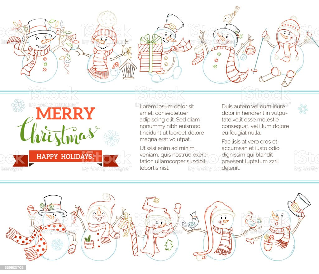 vector merry christmas and happy new year background with cute snowmen royalty free vector