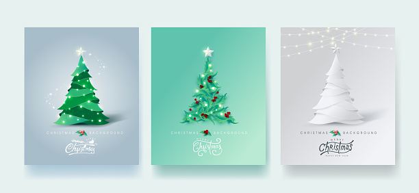 Vector merry Christmas and happy New Year design for greeting card,cover, invitation, poster, banner.Calligraphic Christmas lettering.Winter vector illustration template.Set of Christmas tree in different styles. clipart