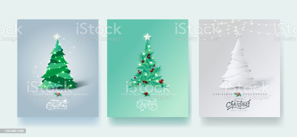 Vector merry Christmas and happy New Year design for greeting card,cover, invitation, poster, banner.Calligraphic Christmas lettering.Winter vector illustration template.Set of Christmas tree in different styles. vector art illustration