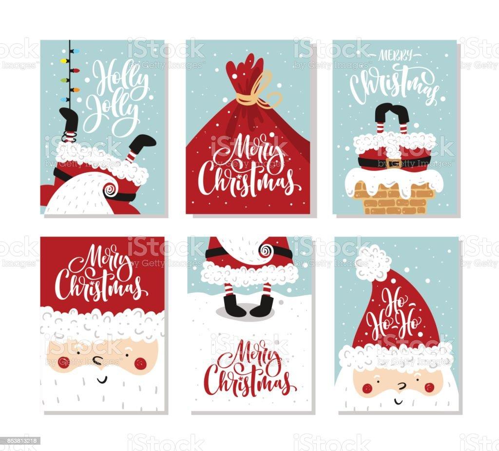 Vektor Frohe Weihnachten und ein glückliches Neujahr Grußkarten-set mit süßer Weihnachtsmann und hand gezeichneten Schrift. – Vektorgrafik