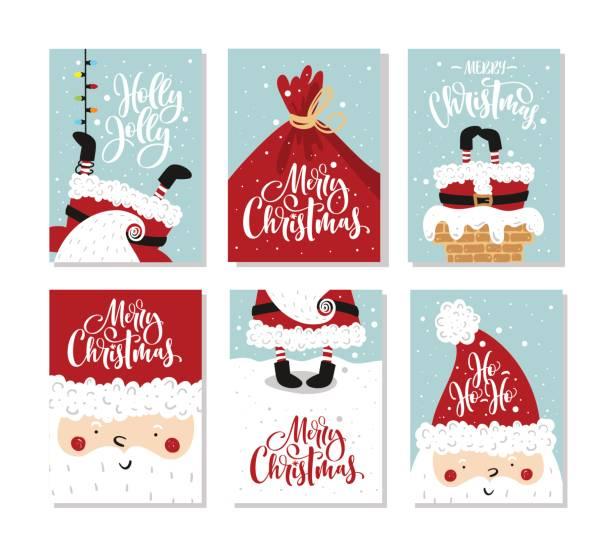vektor frohe weihnachten und ein glückliches neujahr grußkarten-set mit süßer weihnachtsmann und hand gezeichneten schrift. - weihnachtsgeschenk stock-grafiken, -clipart, -cartoons und -symbole