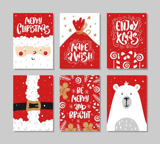 vector merry christmas and happy new year greeting card set with calligraphy hand drawn design elements handwritten modern lettering stock vector art more