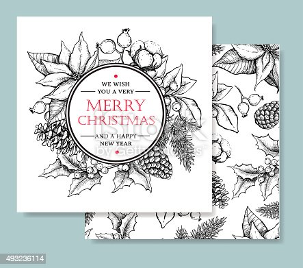 istock Vector Merry Christmas and Happy New Year hand drawn card 493236114