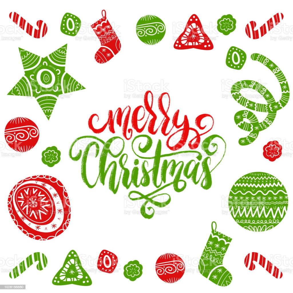 Vector Merry Christmas And Happy New Year Lettering With Festive New ...