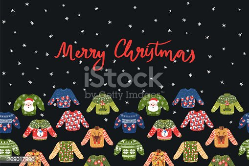 Vector Merry Christmas card with seamless ugly sweaters ornament. Funny Xmas decor for washi tape.