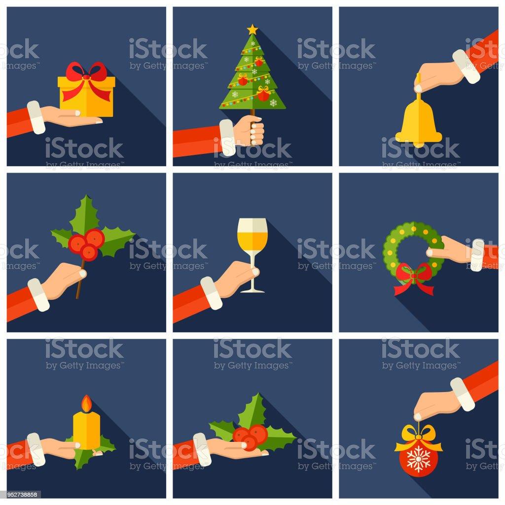 Frohe Weihnachten Vektorgrafiken Mit Flachen Stil Händen ...