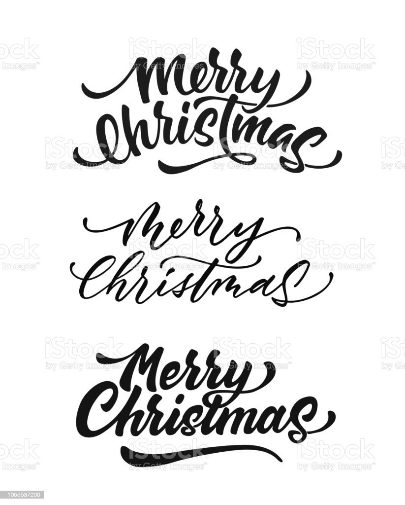 Christmas Lettering.Vector Merry Christmas Lettering Script Ink Sign Stock Illustration Download Image Now