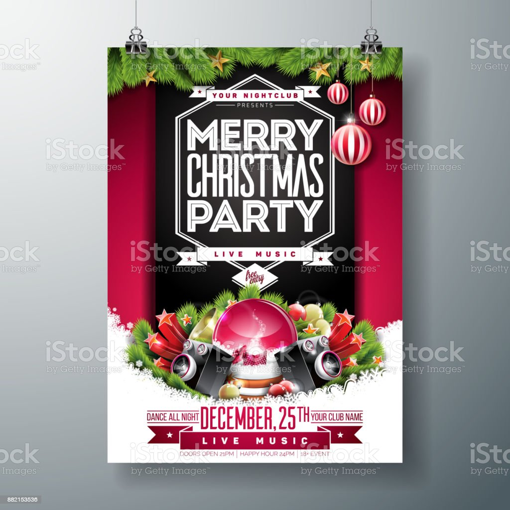 vector merry christmas party flyer illustration with holiday