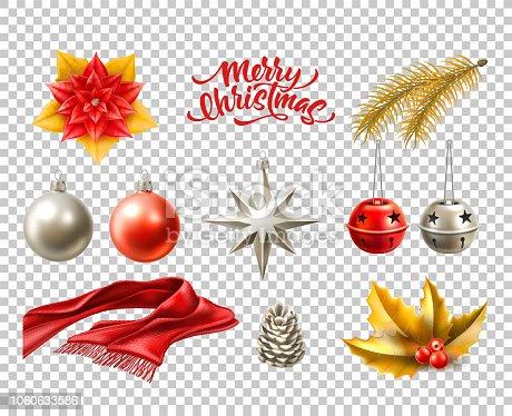 istock Vector merry christmas realistic symbols, toys set 1060633586