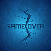 Vector Message: Game Over on Cracked Background