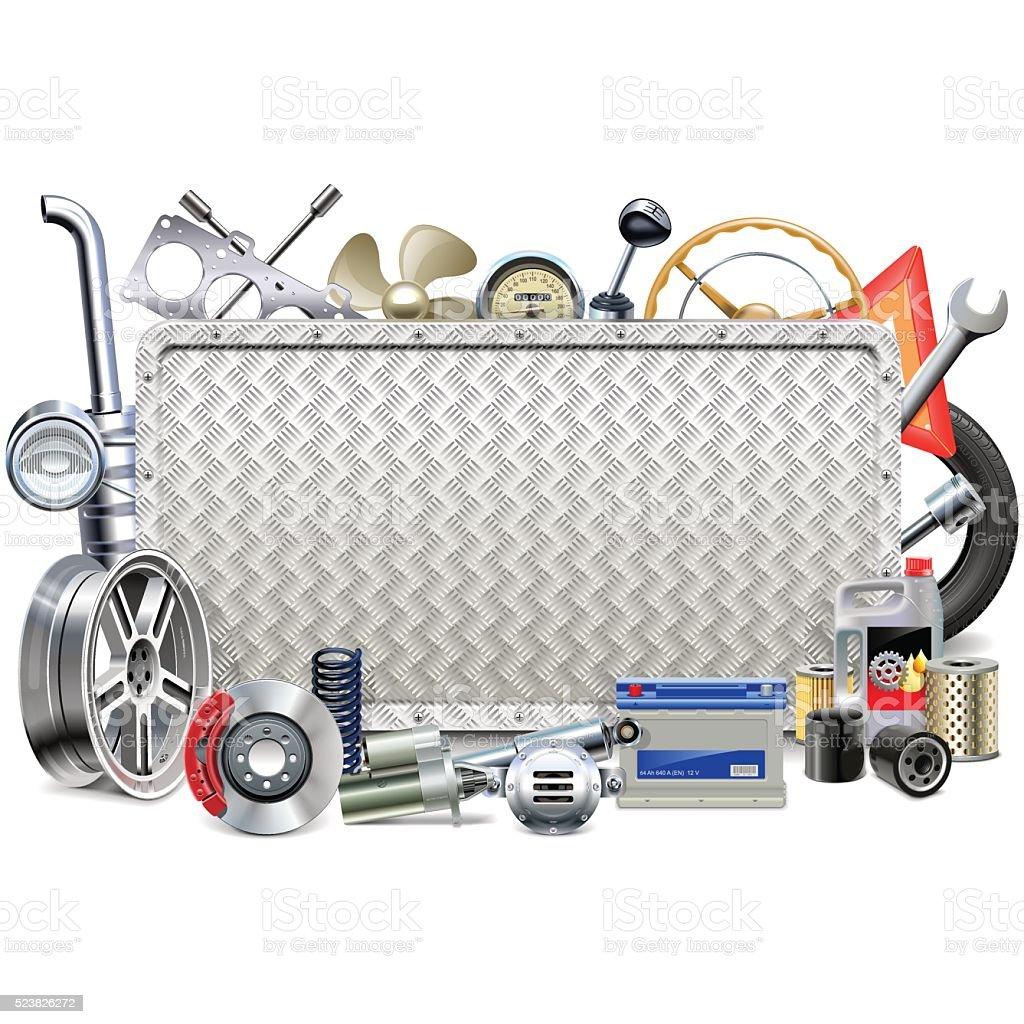 Vector Metal Board with Car Parts vector art illustration