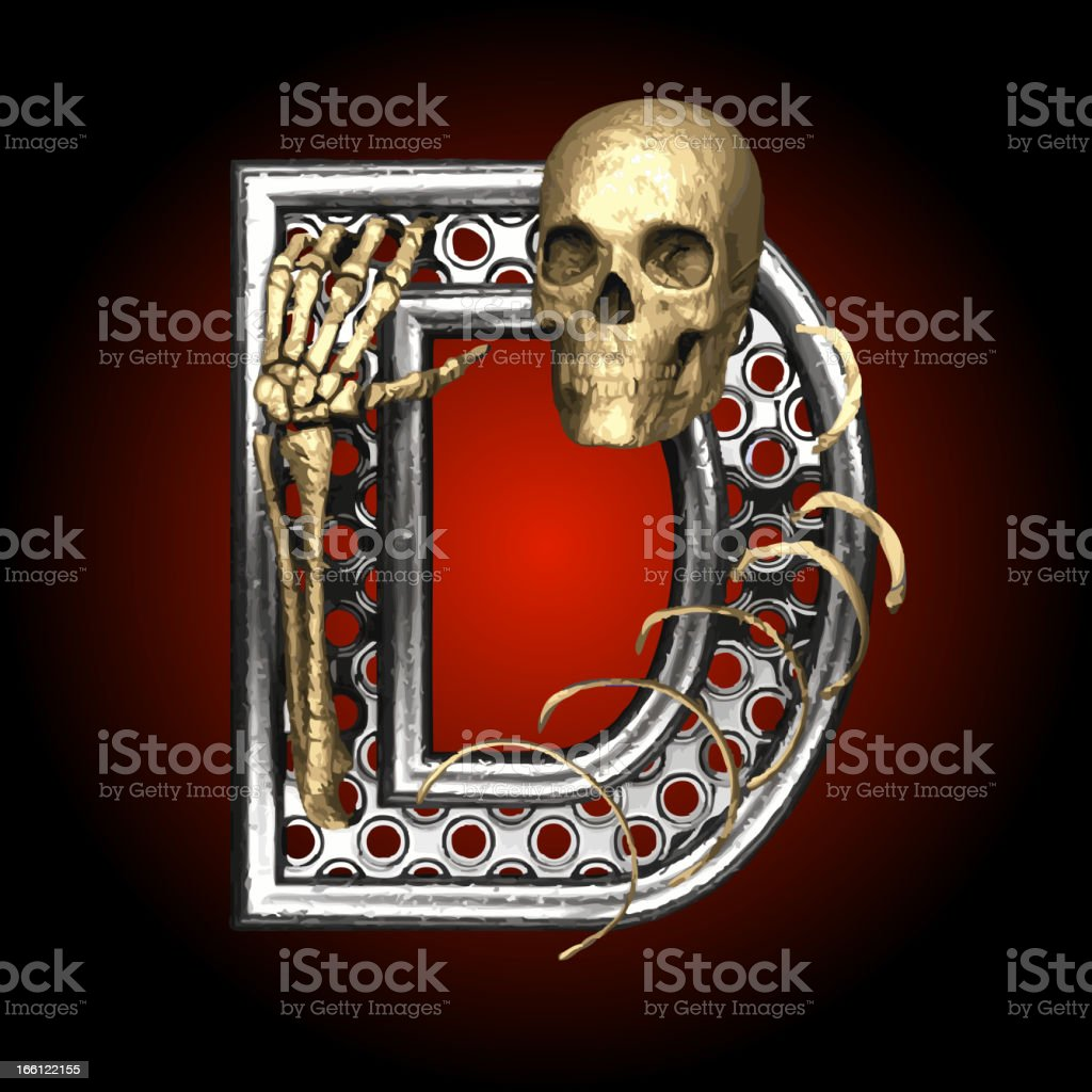 Vector Metal figure D with skeleton royalty-free stock vector art
