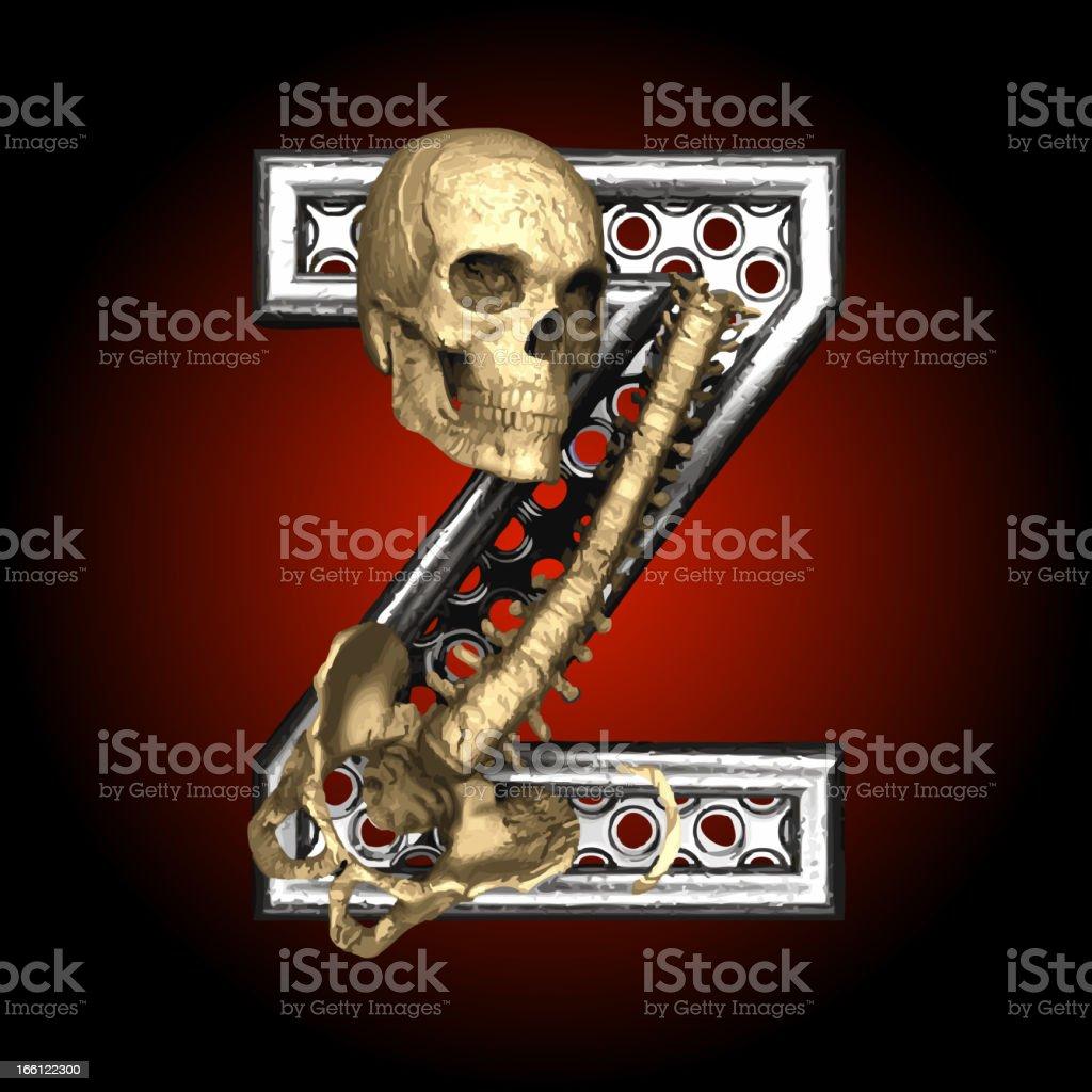 Vector Metal figure Z with skeleton royalty-free stock vector art