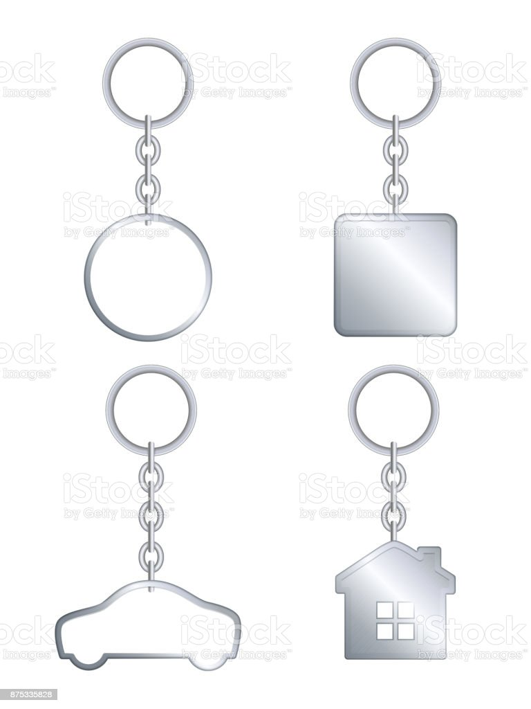 Vector metal keychain realistic template set