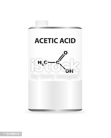 Vector illustration of metal liquid container can with acetic acid CH3COOH. Illustration of aliphatic polar chemical solvent. On the packaging is the name and formula of chemical substance.