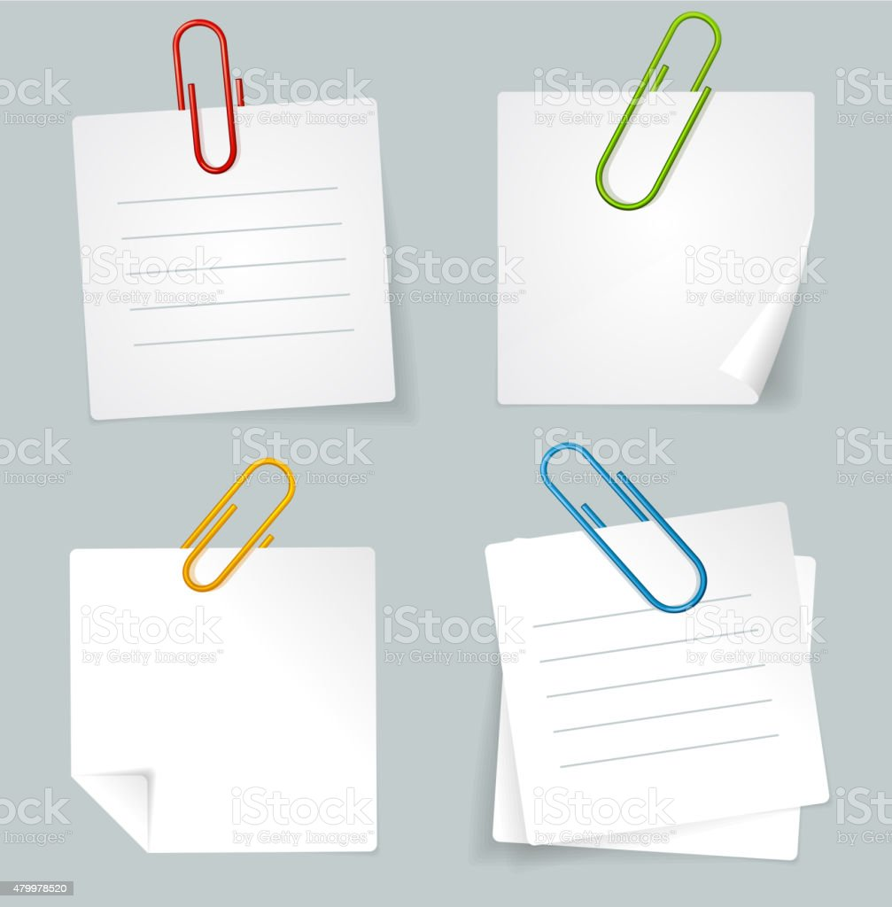 Vector Metal Paperclip and White Paper Notes Set vector art illustration