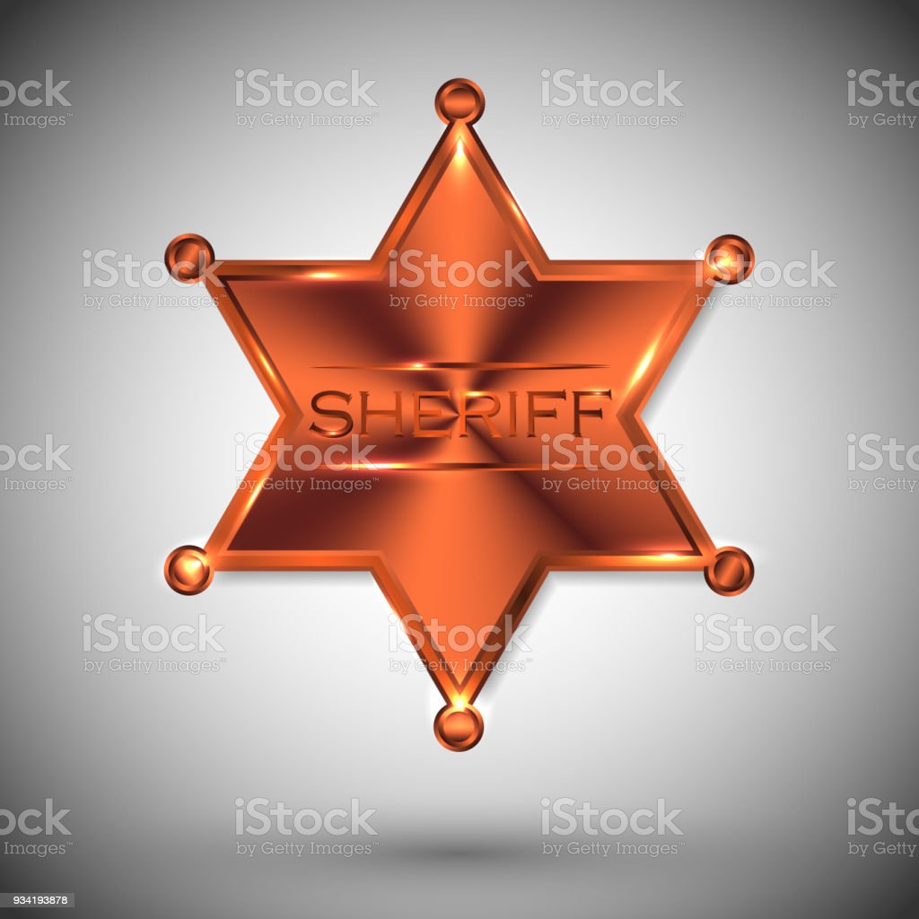vector metal sheriff star isolated on white background. vector...