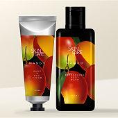 Vector Metallic Aluminum Beauty or Toiletries Tube & Rectangular Black Flip Cap Bottle Packaging with Tropical Mango Illustration Print.