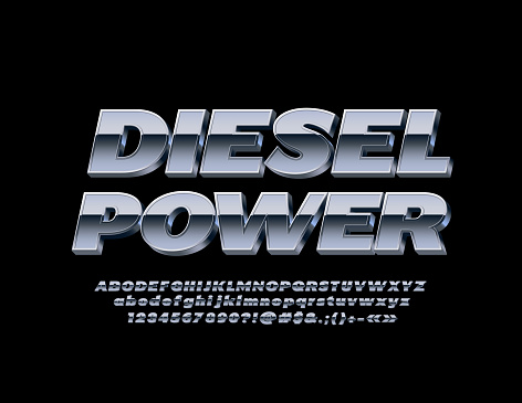 Vector Metallic banner Diesel Power with 3D Font. Silver Alphabet set