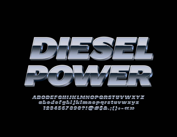 Vector Metallic banner Diesel Power with 3D Font. Silver Alphabet set Isometric iron Letters, Numbers and Symbols diesel stock illustrations