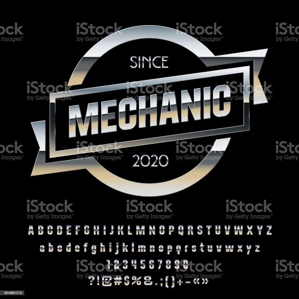 Vector Metallic Chrome Emblem Mechanic royalty-free vector metallic chrome emblem mechanic stock illustration - download image now