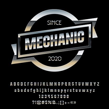 Vector Metallic Chrome Emblem Mechanic