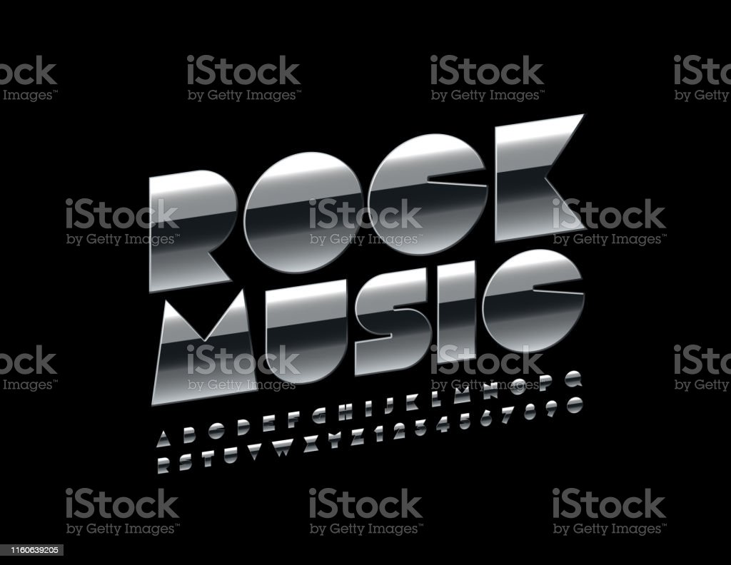 Vector Metallic Poster Rock Music With Uppercase Font Silver