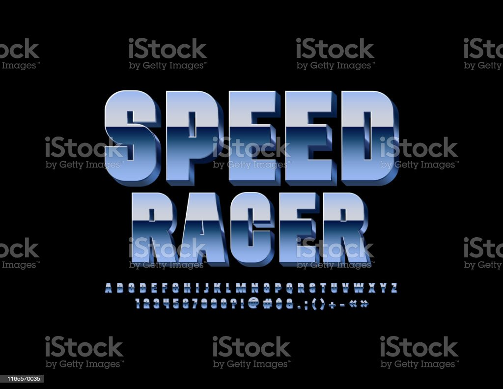Vector Metallic Sign Speed Racer With Chrome Font Silver Uppercase Alphabet Stock Illustration Download Image Now Istock