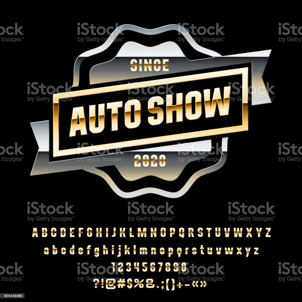 Vector metallic Silver label with ribbon Auto Show vector art illustration