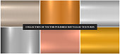Vector metallic smooth textures. Bright color gradient iron backgrounds. Shiny brushed design.