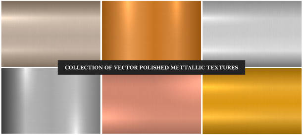 Vector metallic smooth textures. Bright color gradient iron backgrounds. Shiny brushed design Vector metallic smooth textures. Bright color gradient iron backgrounds. Shiny brushed design. metal stock illustrations