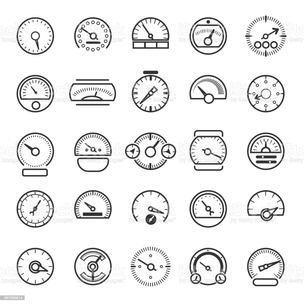 Vector meter and gauge control icons for dashboard vector art illustration