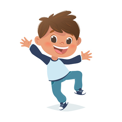 Vector mexican boy jumping and laughing. Cartoon character design, isolated on white background.