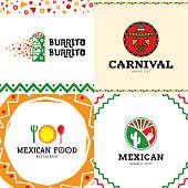 Vector Mexican Burrito Food Symbol Set